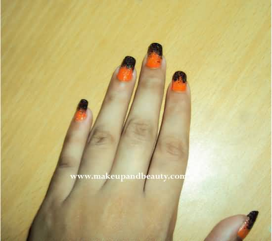 Black And Orange Nail Art