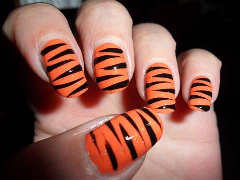 Black And Orange Zebra Striped Nail Art