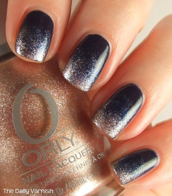 Black And Silver Glitter Gradient Nail Art