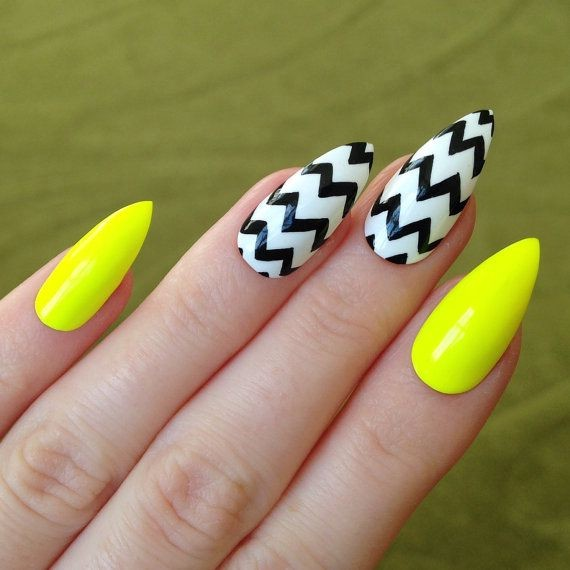- Black And White Chevron With Neon Yellow Nails Design
