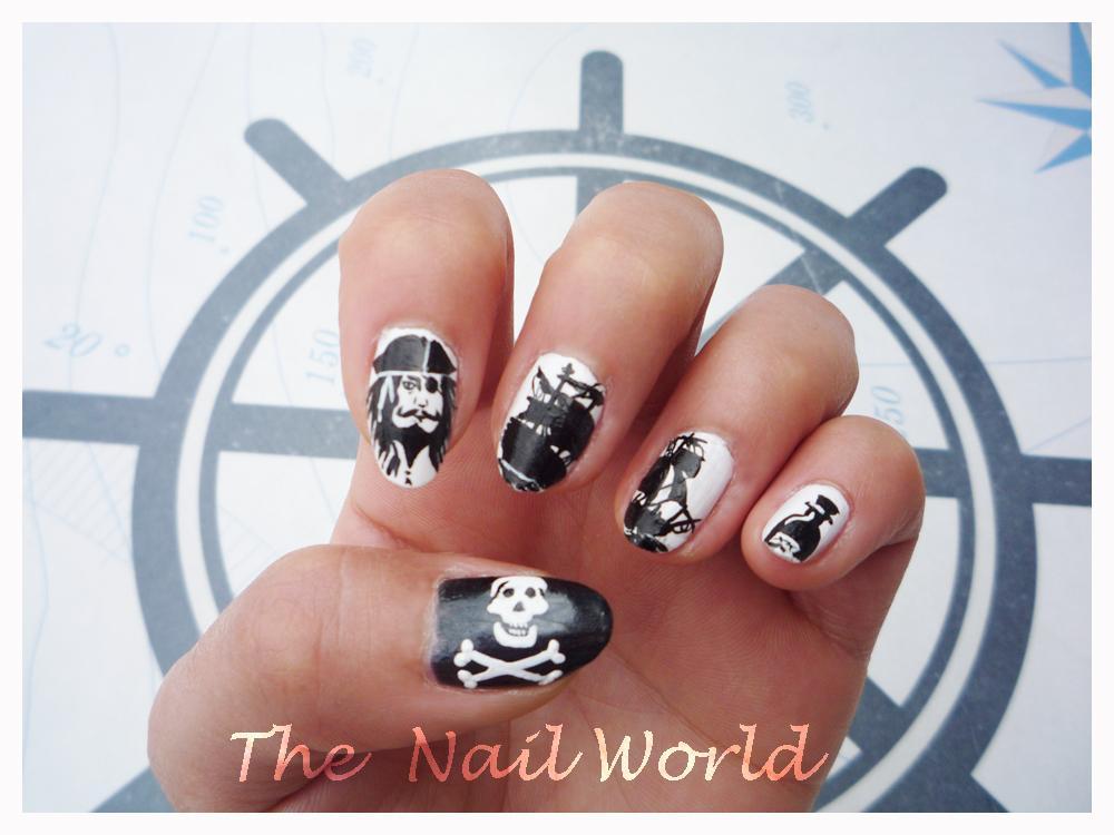 Black And White Pirates Nail Art Design Idea