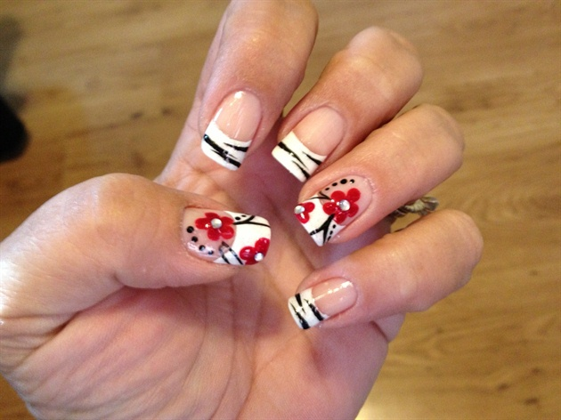 Black And White Zebra Print Nail Art With Red Flowers Design