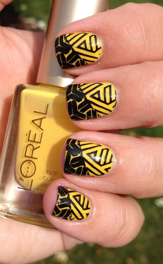 Black And Yellow Design Nail Art Idea
