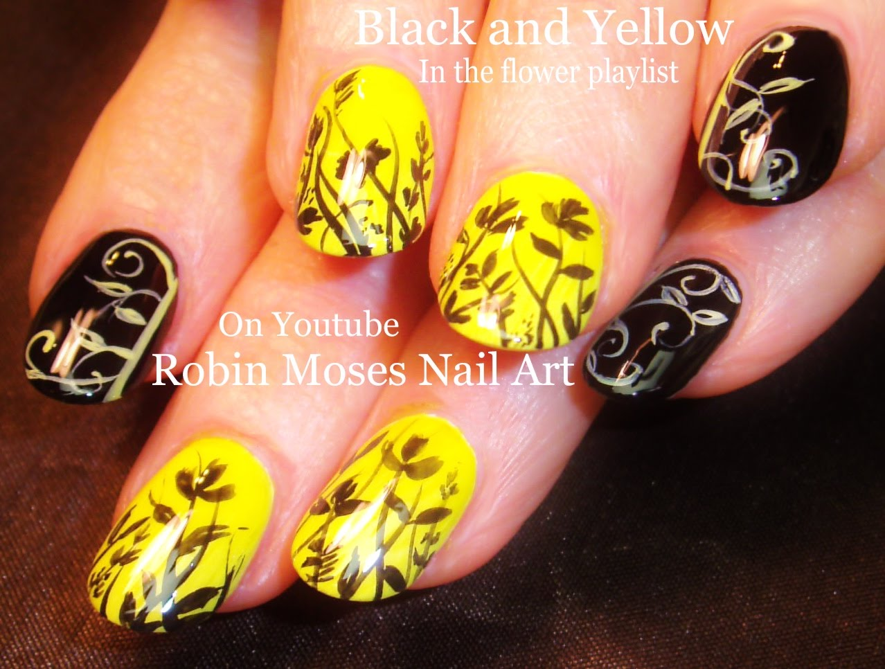 - Black And Yellow Filigree Nail Art Design With Tutorial Video