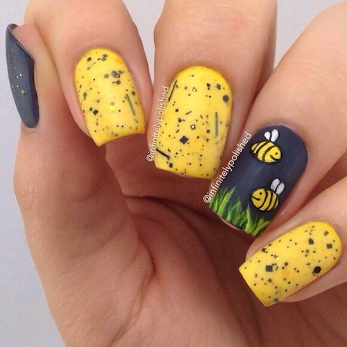 55 latest yellow nail art designs black and yellow nail art with bees picture prinsesfo Image collections