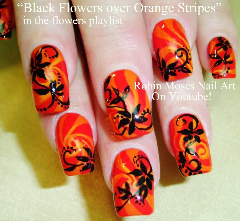 Black Flowers Over Orange Stripes Design Nail Art