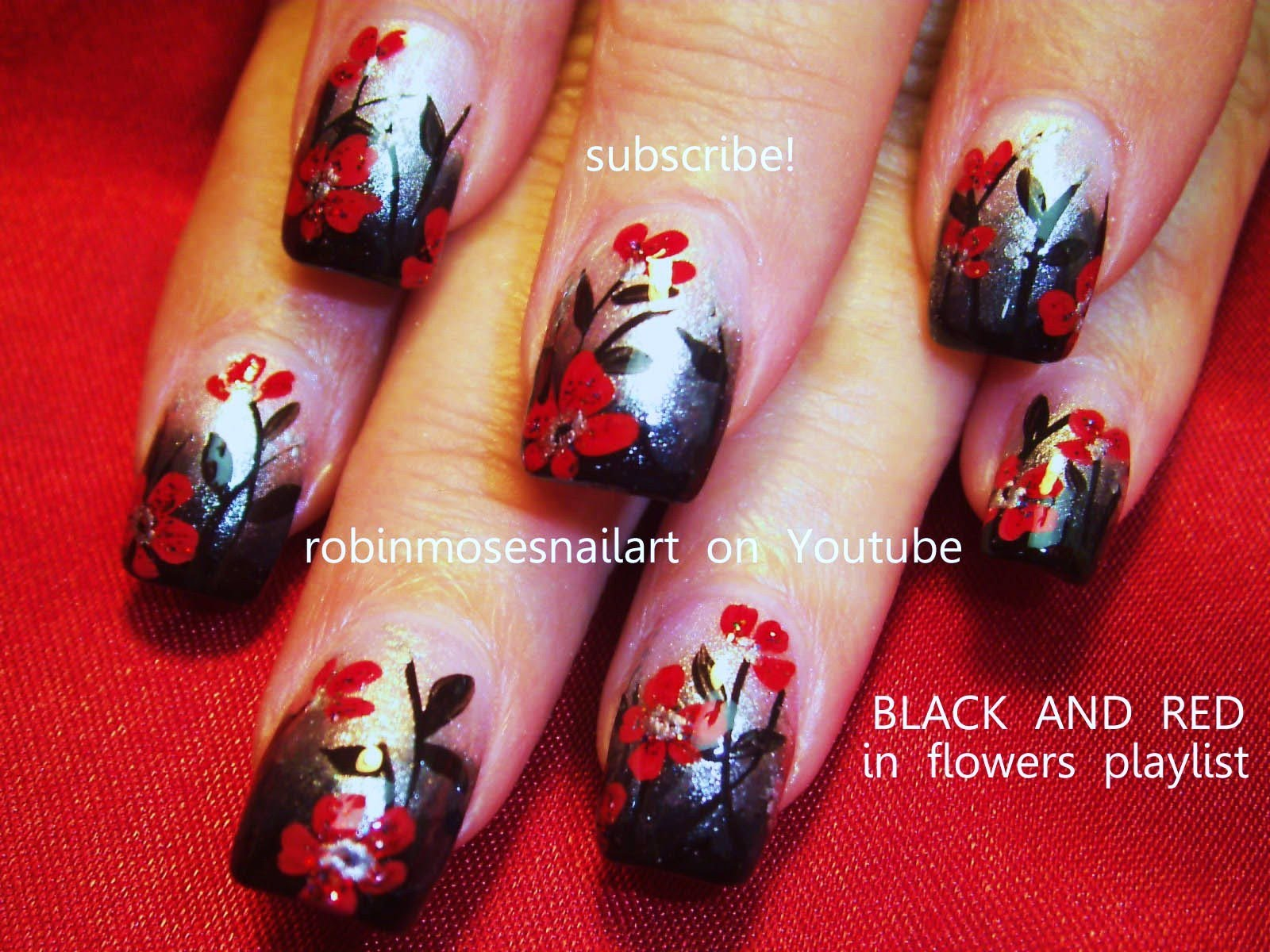Black Gradient With Red Flowers Nail Art