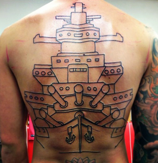 Fabulous old school navy tattoo on full back for Traditional navy tattoos