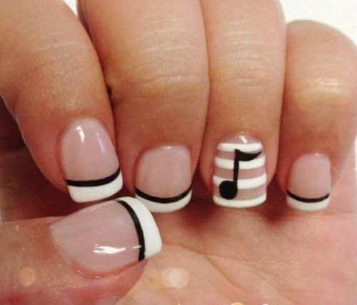 55 classy white short nail art designs black musical notes with white stripes design short nail art prinsesfo Images
