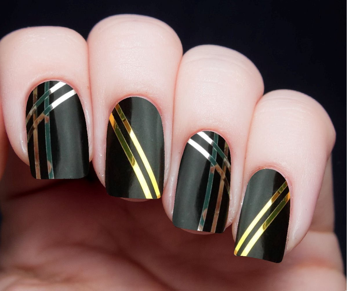 55 best striping tape nail art design ideas black nails with gold striping tape nail art design idea prinsesfo Images