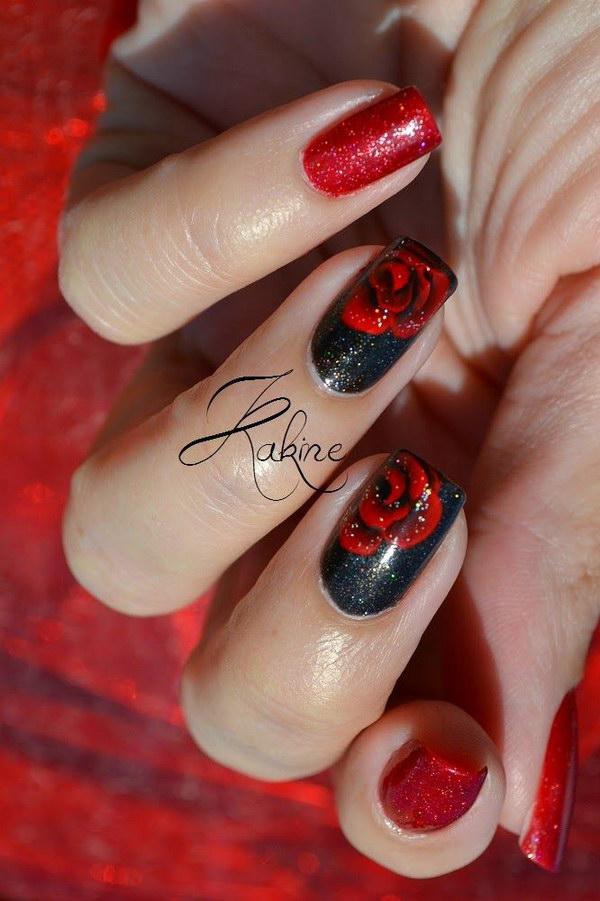 50 most beautiful red nail art design ideas black nails with red rose flower nail art design prinsesfo Choice Image