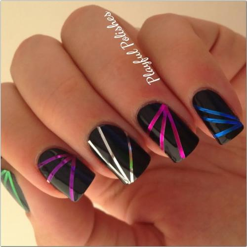 Nail Art Using Striping Tape: 21 Most Beautiful Striping Tape Nail Art Ideas For Trendy