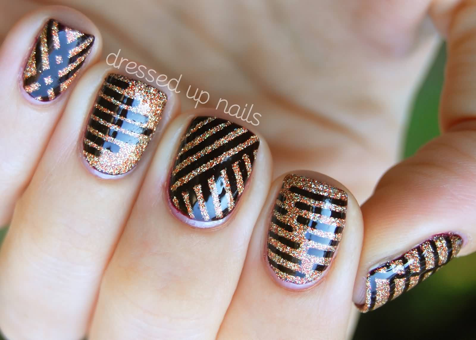 Black striping tape nail design on glitter gel nails prinsesfo Images