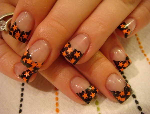 Black Tip And Orange Stars Design Nail Art