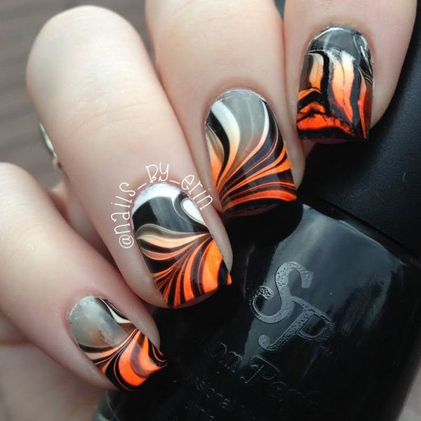 Black White And Orange Water Marble Nail Art - 60 Stylish Orange Nail Art Designs