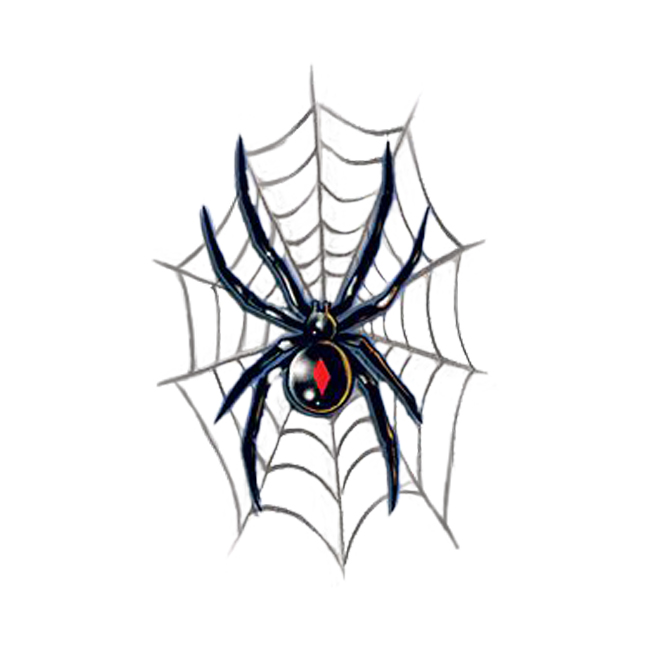 a213bf330 Black Widow On Web Temporary Tattoo Design