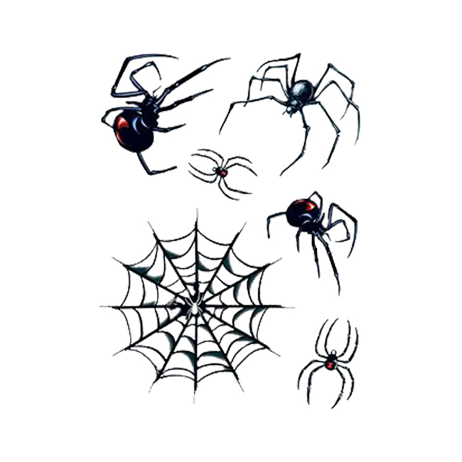 aeec3bb72 Black Widow Spider And Web Temporary Tattoo Set