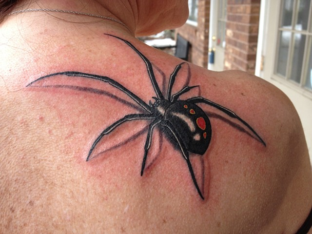 c8a3289ca Black Widow Spider Tattoo On Back Shoulder For Women