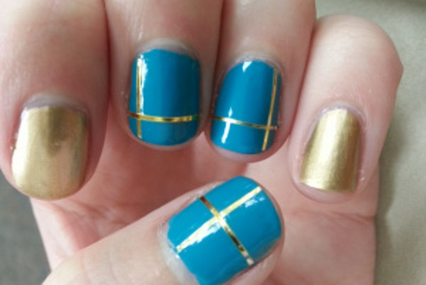 55 best striping tape nail art design ideas blue and gold striping tape nail art prinsesfo Images