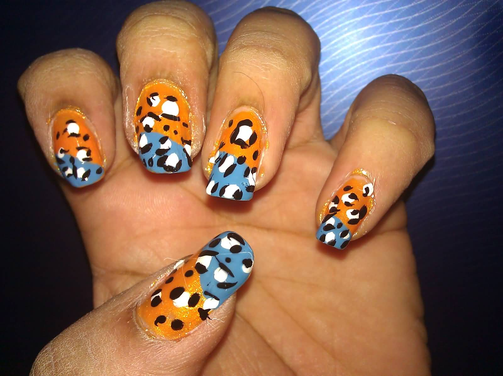 Blue And Orange Leopard Print Nail Art