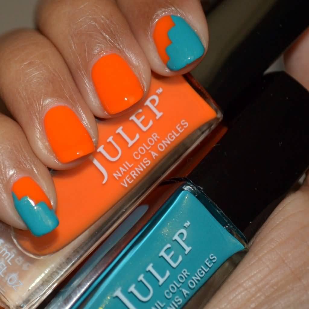 Blue And Orange Nail Art Design Idea