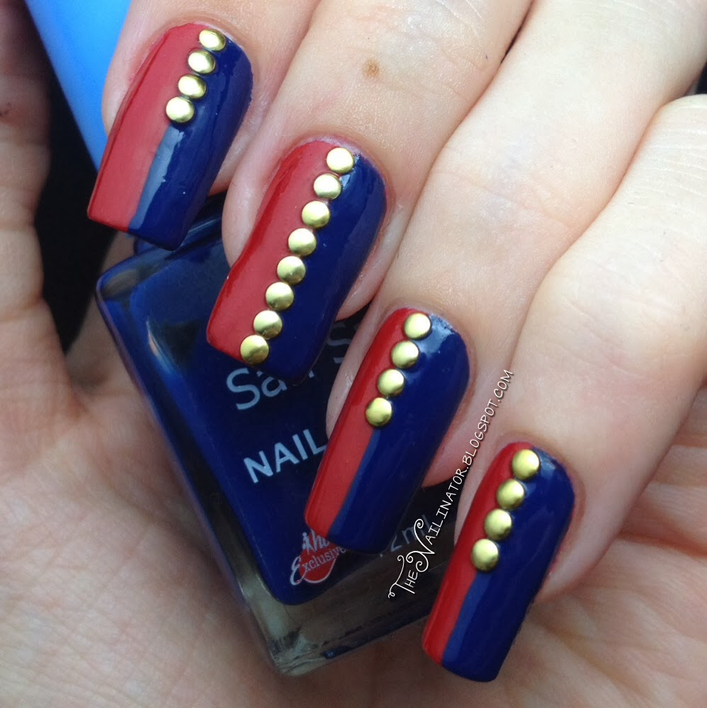 Blue And Red Philippine Flag Nail Art With Gold Caviar Beads Design Idea - 50+ Most Beautiful Flags Nail Art Ideas