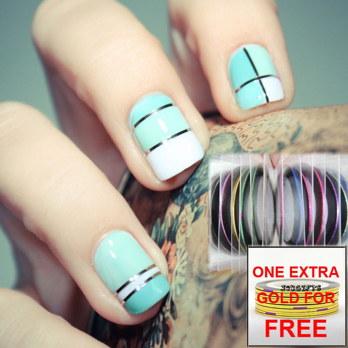 Nail Art Using Striping Tape: 55 Best Striping Tape Nail Art Design Ideas