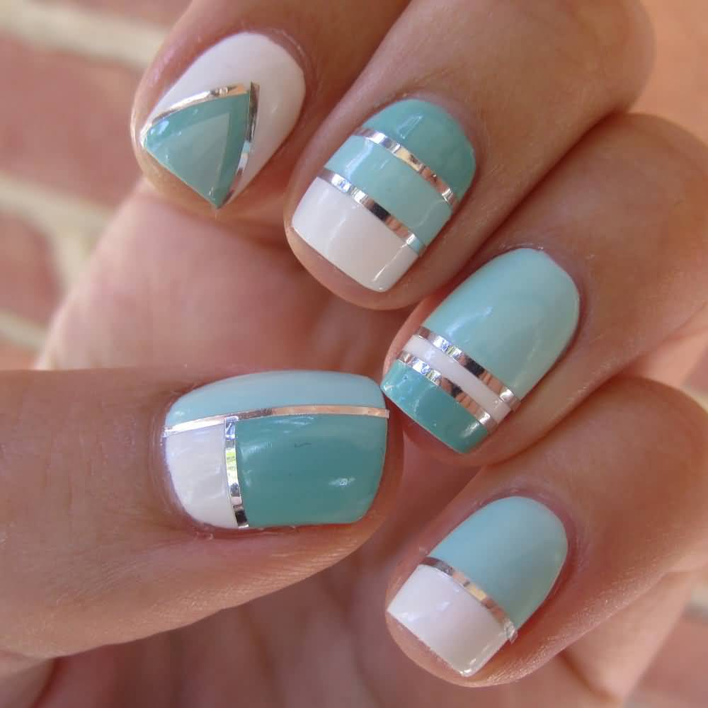 Blue and white striping tape nail art prinsesfo Choice Image
