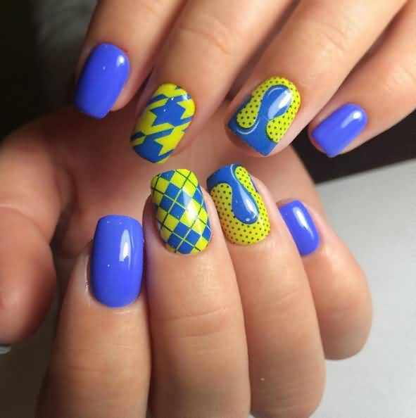 Nail Art Blue And Red: 52 Latest Yellow And Blue Nail Art Designs