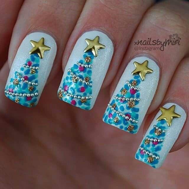 Blue Christmas Nail Art: 50 Most Stylish Christmas Nail Art Ideas
