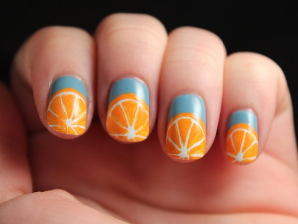 Blue Nails And Orange Slices Tip Nail Art