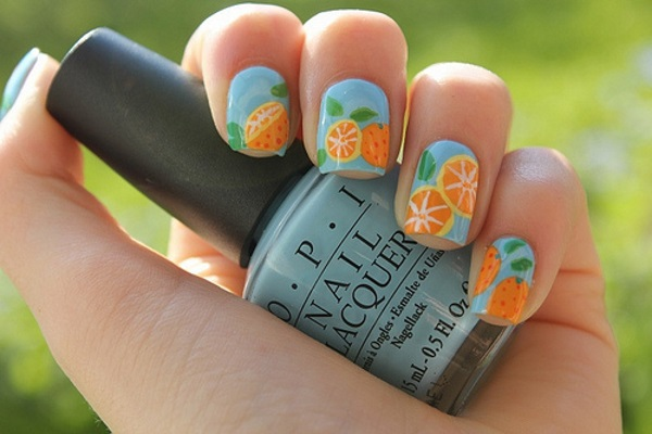 Blue Nails With Orange Slices Nail Art