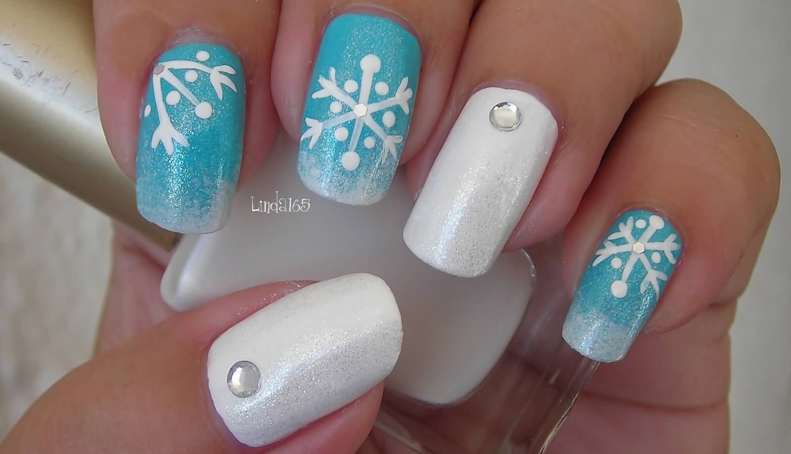 Blue Nails With White Snowflakes Design Nail Art Tutorial Video