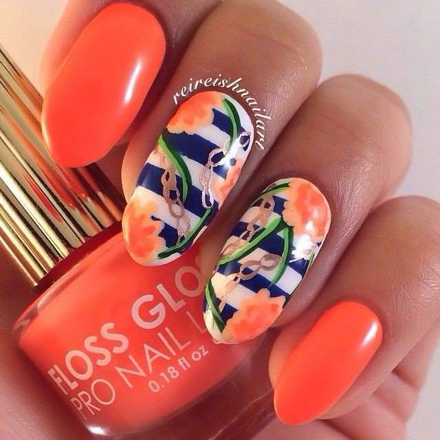 Blue Stripes And Orange Flowers Nail Art