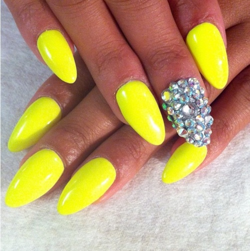 Bright Yellow Almond Nail Art
