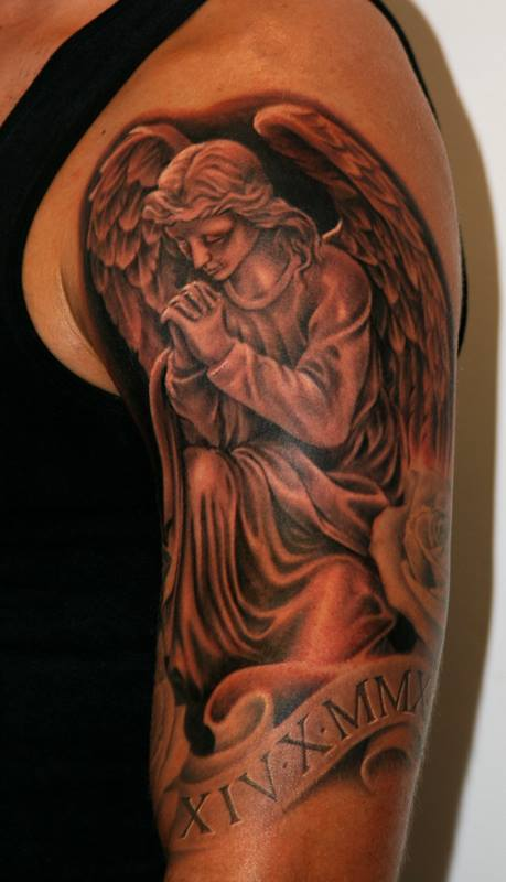 Cool angel praying tattoo on forearm by soldiersinktattoos for Praying angel tattoos