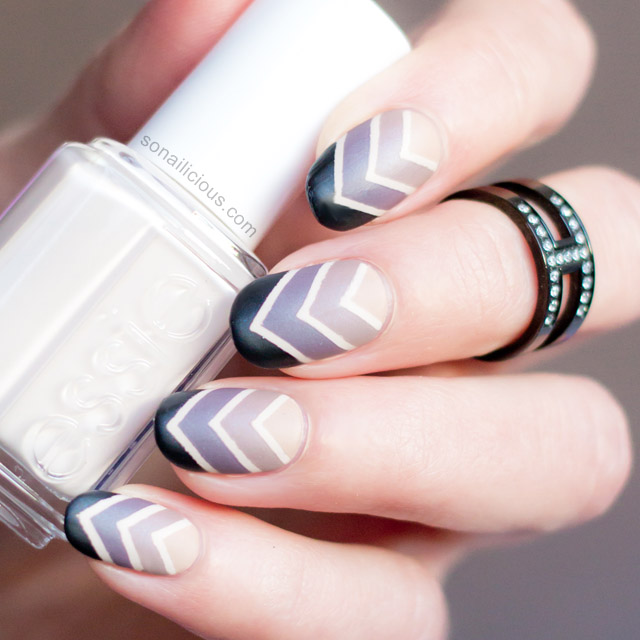 Chevron Design Gradient Nail Art