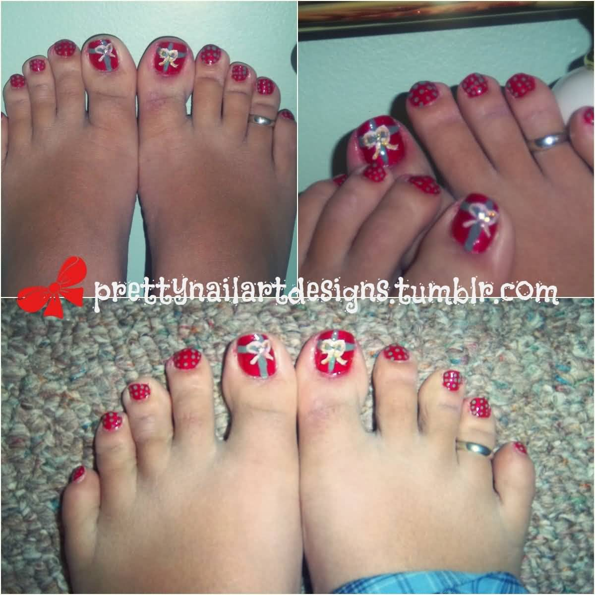 Christmas Toe Nail Art Tutorial Video