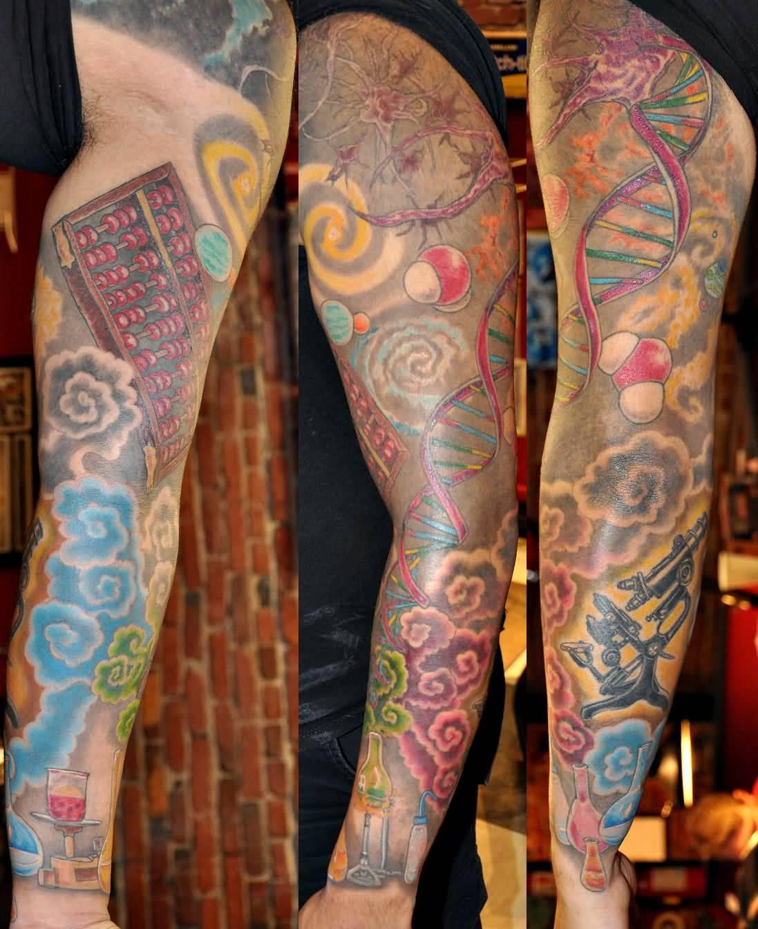 28 Colored Full Sleeve Tattoos: 60+ Science Tattoos On Sleeve