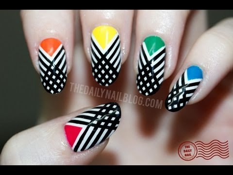 Multicolored Nails With Black Crossed Striping Tape Nail Art