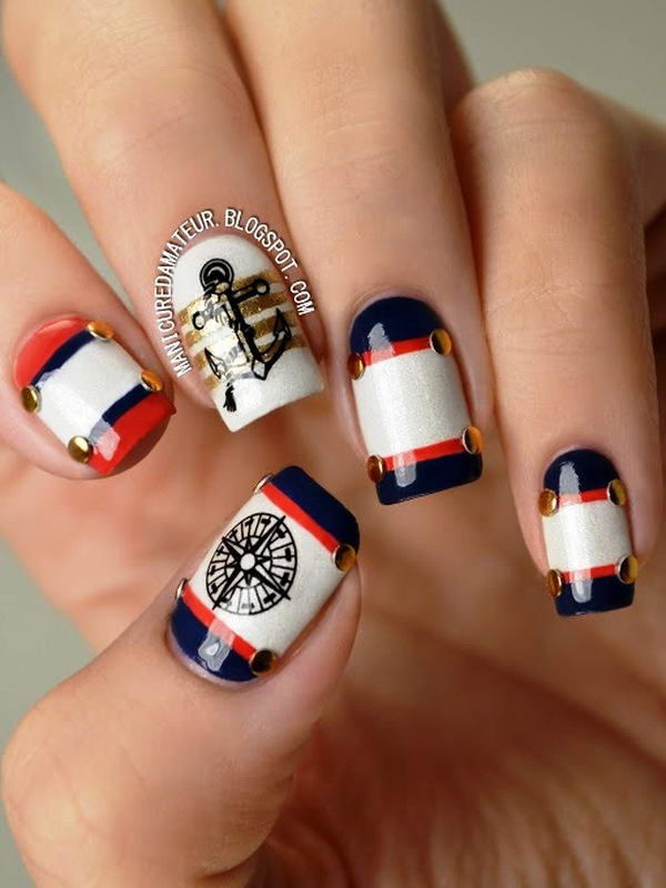 Compass and anchor pirates nail art design prinsesfo Gallery