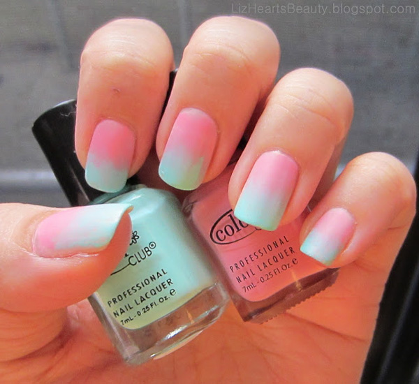 50 most beautiful gradient nail art design ideas cute pink and blue gradient nail art prinsesfo Choice Image