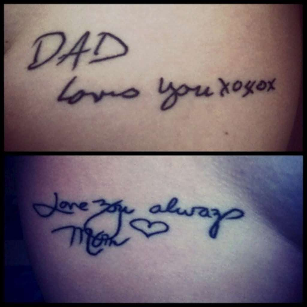 Love writing tattoo designs - Dad And Mom Remembrance Tattoo