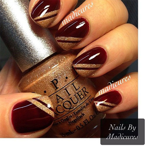Dark Glossy Red Nails With Gold Stripes Design Nail Art - 52+ Red And Gold Nail Art Designs For Trendy Girls
