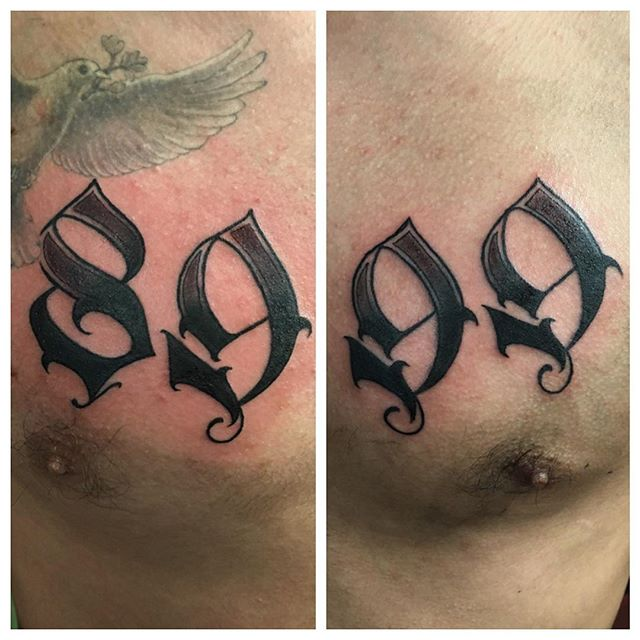 Different Numbers Font Tattoo On Chest