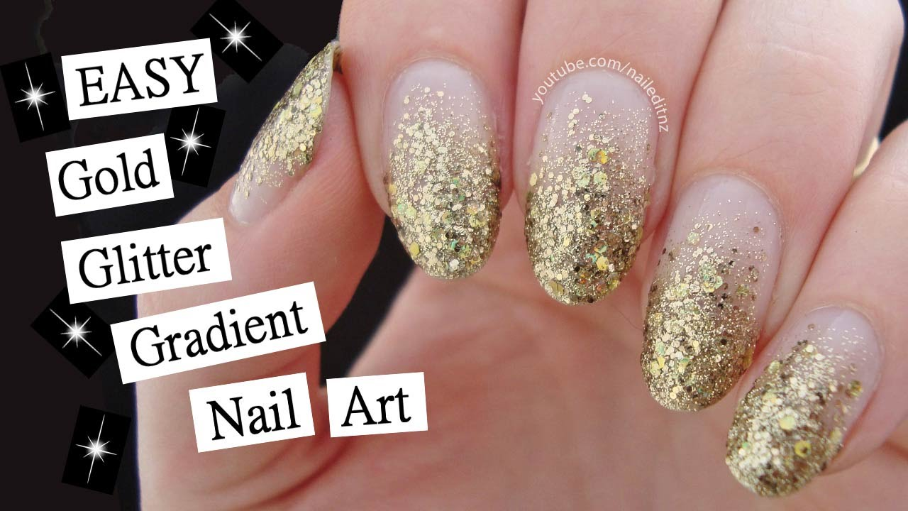 Easy Gold Glitter Gradient Nail Art Video Tutorial