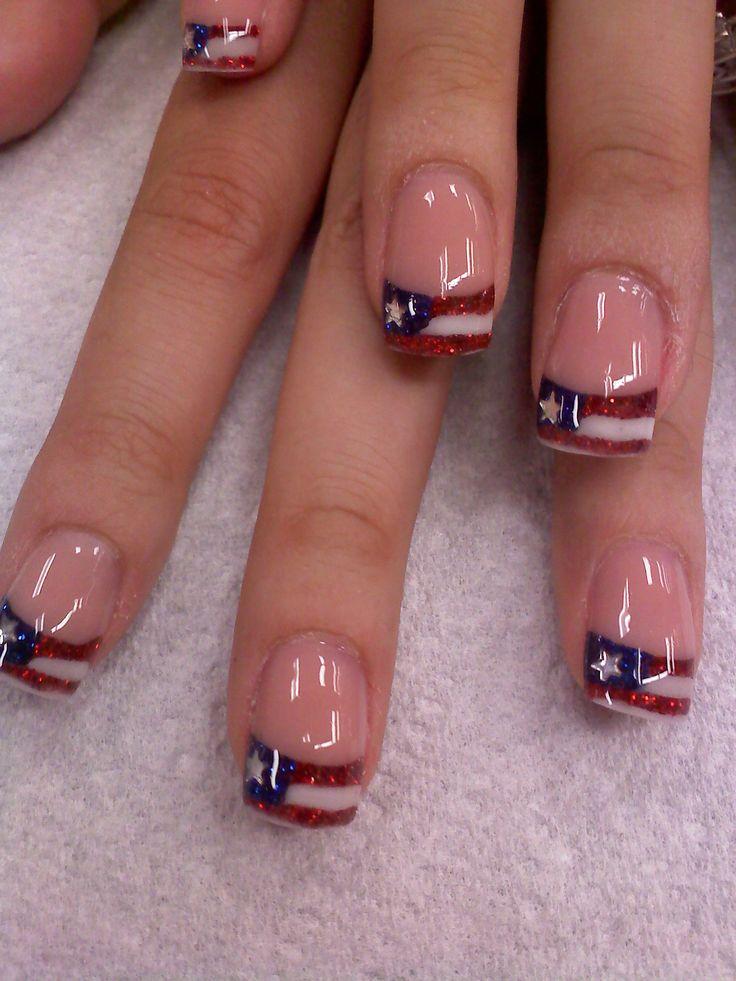 French Tip Glitter Gel Nail Art