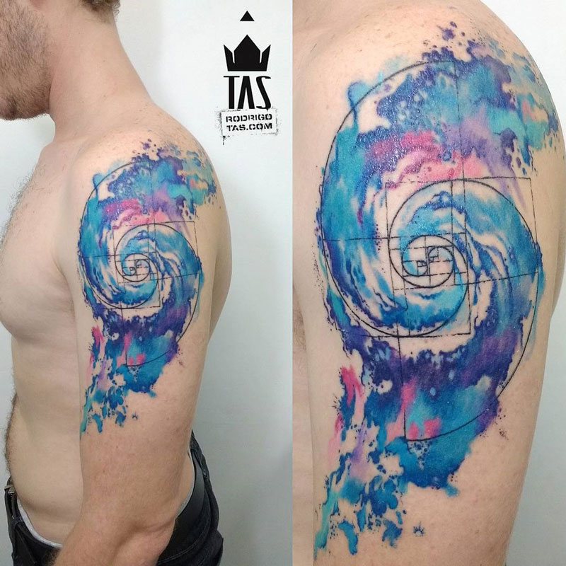 9e6bb7fa77cc9 Galaxy Spiral And Golden Ratio Tattoo On Left Half Sleeve For Men
