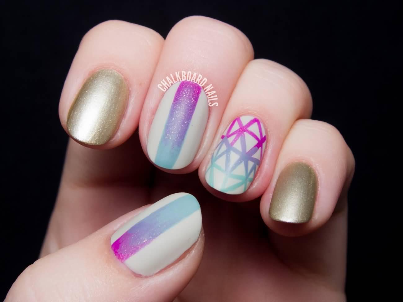 Geometric Gradient Nail Art Design Idea