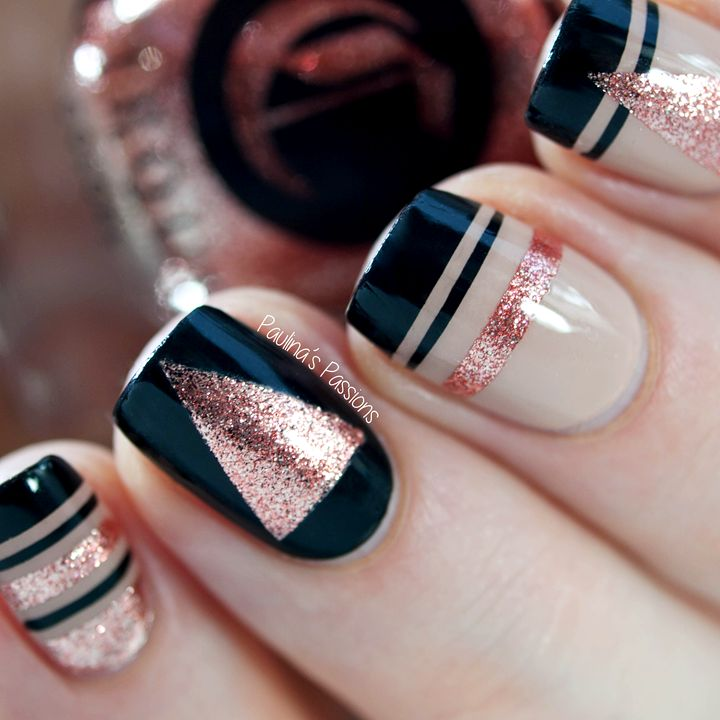 Glitter Striping Tape Nail Art